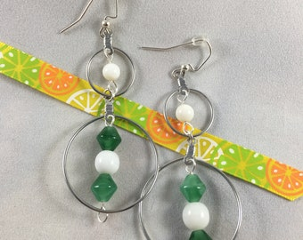 Green and White Silver Double Hoop Earrings
