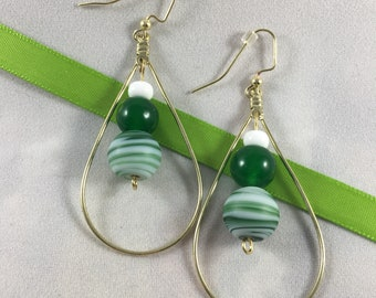 Green and White Antique Gold Hoop Earrings
