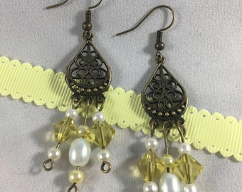Yellow and White Antique Gold Drop Earrings