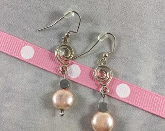 Silver Swirl and Pink Pearl Drop Earrings