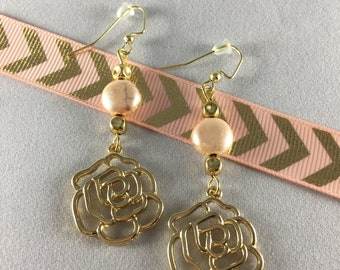 Gold Rose with Pink Pearl Drop Earrings