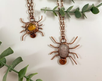 Gemstone Spider Necklace | Copper Electroformed Jewelry | Crystal Spider | Tigers Eye, Rose Quartz | Halloween Witchy