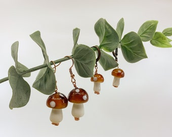 Glass Mushroom Earrings | Choose Your Size | One of a Kind Natural Jewelry | Witchy Boho Cottagecore Fairy