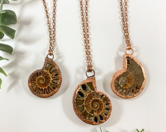 Sea Witch Necklace | Copper Electroformed Ammonite Statement Necklace | Choose your stone | Handmade one of a kind