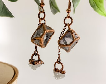 Fluorite and Raw Quartz Drop Earrings | Copper Electroformed Jewelry | Rainbow Fluorite | One of a Kind Natural Stone Jewelry