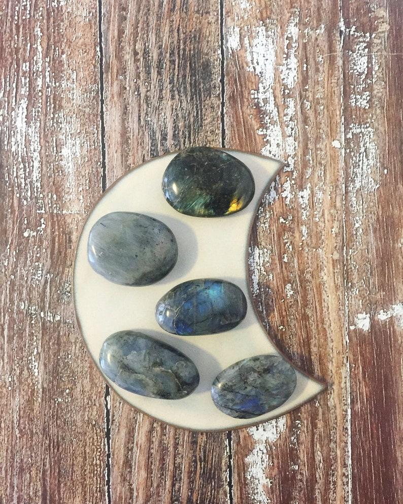 Polished Labradorite Palm Stone Labradorite Worry Stone image 0