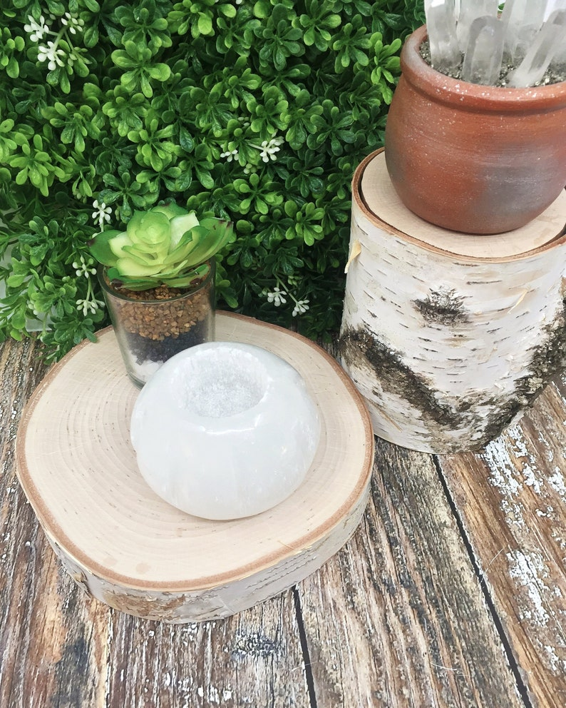 Carved Selenite Candle Holder Tea Light Holder Air Plant image 0