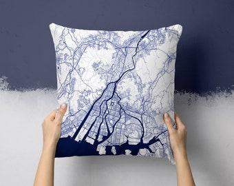 Yokohama Japan City Street Map Throw Pillow