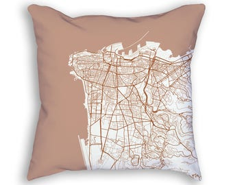 Beirut Lebanon City Street Map Throw Pillow