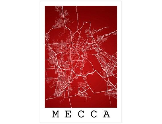 Mecca Street Map Mecca Saudi Arabia Modern Art Print Mecca | Etsy