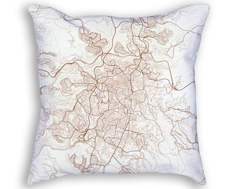 Jerusalem Israel City Street Map Throw Pillow