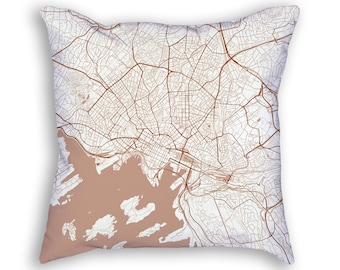 Oslo Norway City Street Map Throw Pillow