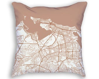 San Juan Puerto Rico City Street Map Throw Pillow