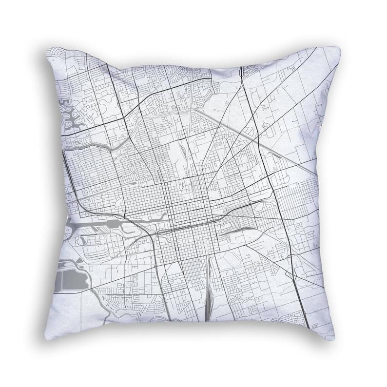 Stockton California City Street Map Throw Pillow