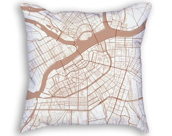 Saint Petersburg Russia City Street Map Throw Pillow