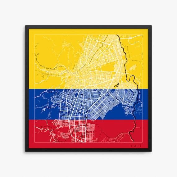 Cali city street map cali colombia flag modern art print etsy image 0 publicscrutiny Image collections