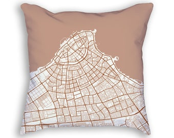 Kuwait City Kuwait City Street Map Throw Pillow