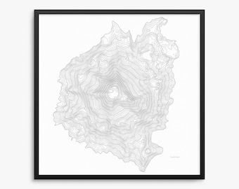 South Sister Poster, South Sister Oregon, South Sister Map Art, South Sister Contour Map, Oregon, Three Sisters, Home Decor, Office Decor