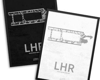 LHR Airport, Heathrow Airport, Heathrow England, LHR Airport Poster, London Heathrow, Heathrow UK, Heathrow Airport Poster