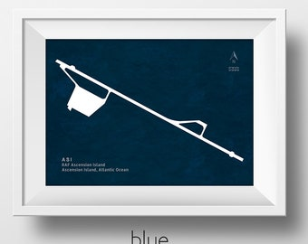 ASI RAF Ascension Island Airport on Ascension Island in the Pacific Ocean Runway Silhouette Modern Wall Art