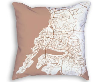 Vladivostok Russia City Street Map Throw Pillow