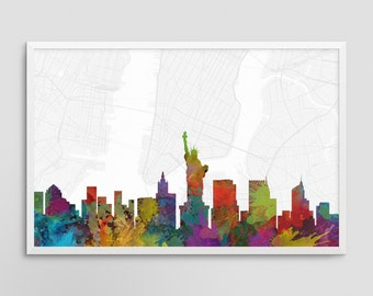 New York City New York Cityscape and Street Map Watercolor Art Print Office or Home Wall Decor