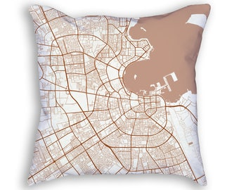 Doha Qatar City Street Map Throw Pillow