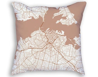 Auckland New Zealand City Street Map Throw Pillow