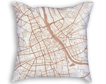 Warsaw Poland City Street Map Throw Pillow