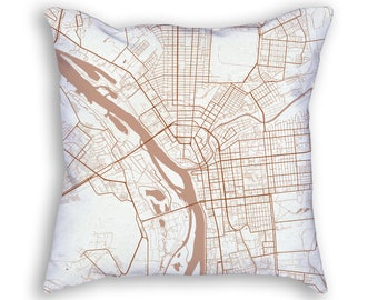 Omsk Russia City Street Map Throw Pillow