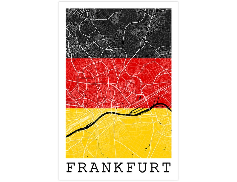Frankfurt Street Map Frankfurt Germany Flag Modern Art   Etsy