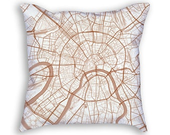Moscow Russia City Street Map Throw Pillow