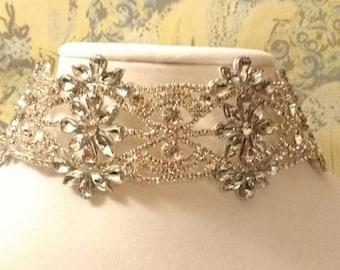 Rhinestone Crystal Silver Alloy Collar Choker Necklace Bridal Bride Jewelry