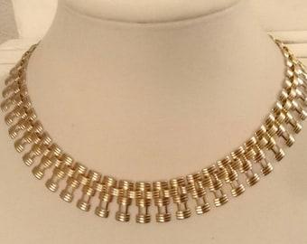 Vintage Cleopatra Gold Tone Choker Necklace