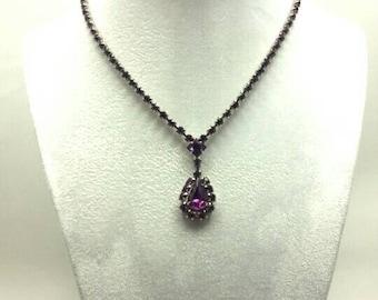 Vintage Fuchsia Rhinestone Necklace