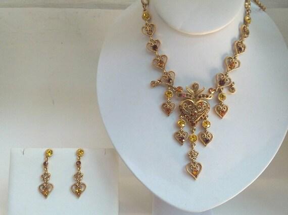 Vintage Rhinestone Hearts Gold Necklace Earring Se