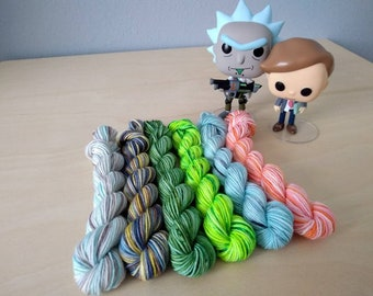 Rick and Morty Hand Dyed Mini Skein SET!