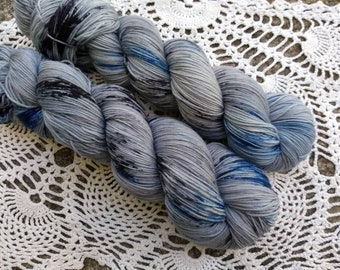 STRANGERS in the NIGHT Hand Dyed Fingering Speckled Gray Blue Black Sock Yarn!