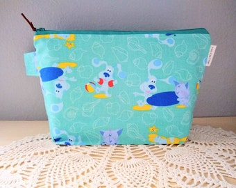 Blues Clues Knitting Project Bag! Medium 2 Skein Size Box Bottom Bag! 1990's Fabric with Blue & Periwinkle on the Beach!