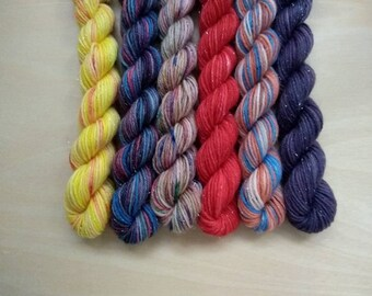 STRANGER THINGS Mini Skein Set! Hand Dyed Sparkle Stellina Fingering Yarn Set of 6 10g Minis!