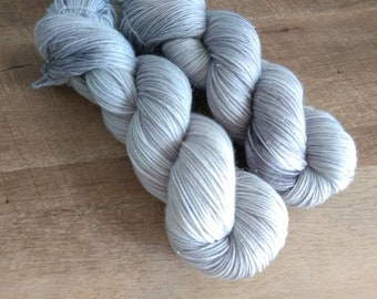 SILVER LINING Hand Dyed Fingering Tonal Light Gray Sock Yarn! (Various Bases)