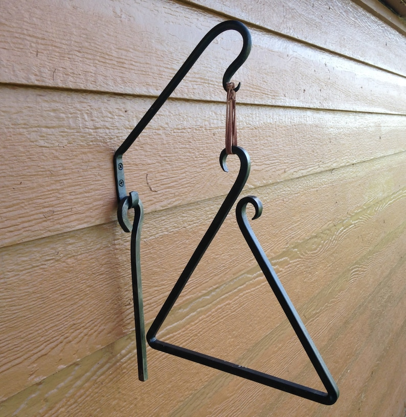 Hand Forged Square Bar Dinner Triangle and Mounting Hook image 0