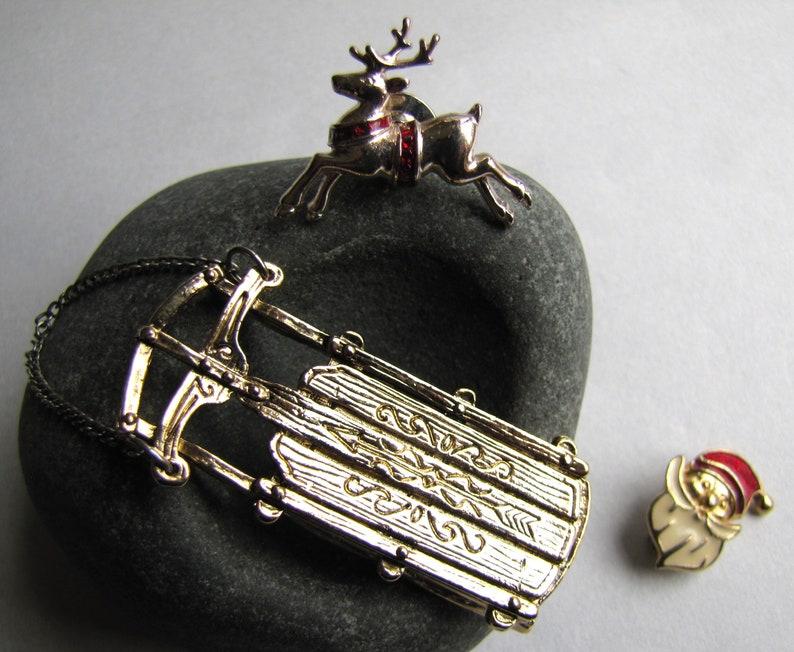 Avon Christmas Deer Pin Xmas Pins 3 Christmas Brooches Ugly Sweater Pins Christmas Sled Brooch Christmas Pins Santa Pin Xmas Jewelry
