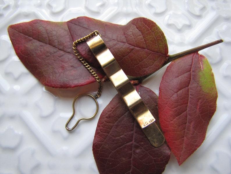 Deco Tie Bar 18 K Yellow Gold 18K Gold Tie Bar 18 Karat Gold CRD Monogram Tie Bar with Button Chain 18 K Gold Tie Bar Solid 18K