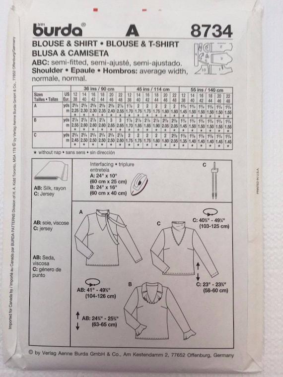 Burda 8734 mujeres blusa camisa volantes Collar lazo V cuello | Etsy