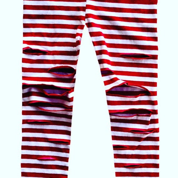 8e278df824cd5 Red and white striped Rockstar leggings Shredded leggings   Etsy