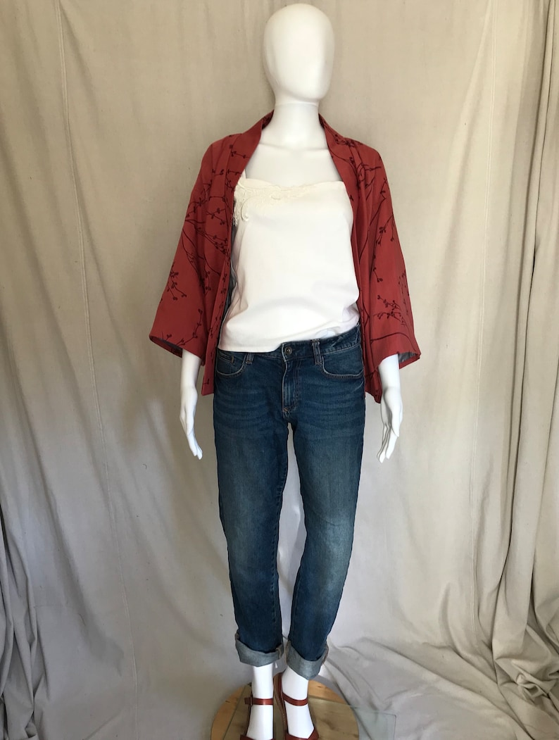 Vintage Style Casual Red Jacket  Blossom Print Lined Jacket  Red Kimono   Vintage Style jacket  Blossom Print   60s style  50s style