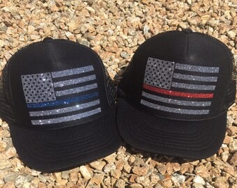 Thin Red Line Hat Cap Fire Lives Matter Black Red One Size Men Adult NEW