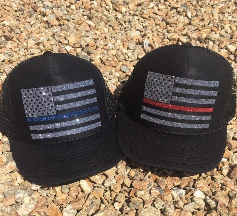 c34e6f721ba84d Trucker Hat. Women's Trucker Hat. Black Hat. Thin Blue | Etsy