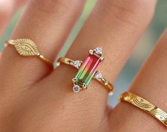 Doublet Quartz Stone Handmade Ring,Best Birthday Gift Ring Birthstone Silver Ring Beautiful Watermelon Tourmaline Quartz Gemstone Ring